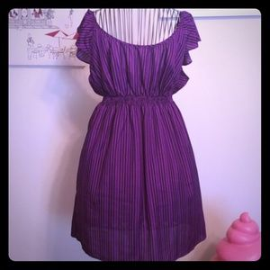 Adorable Purple and Black Striped Dress - Size M
